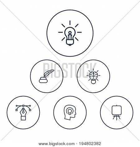Set Of 6 Creative Outline Icons Set.Collection Of Inkwell With Pen, Brain, Easel And Other Elements.