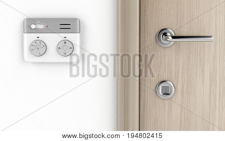Modern thermostat on the wall, 3D illustration