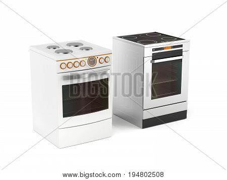 Two different types of electric stoves on white background, 3D illustration