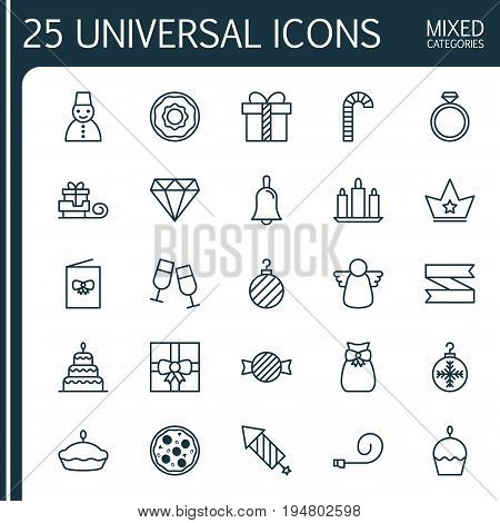 Christmas Icons Set. Collection Of Christmas Ball, Archangel, Handbell Elements. Also Includes Symbols Such As Cane, Gift, Ball.