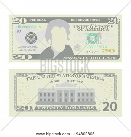 20 Dollars Banknote Vector. Cartoon US Currency. Two Sides Of Twenty American Money Bill Isolated Illustration. Cash Symbol 20
