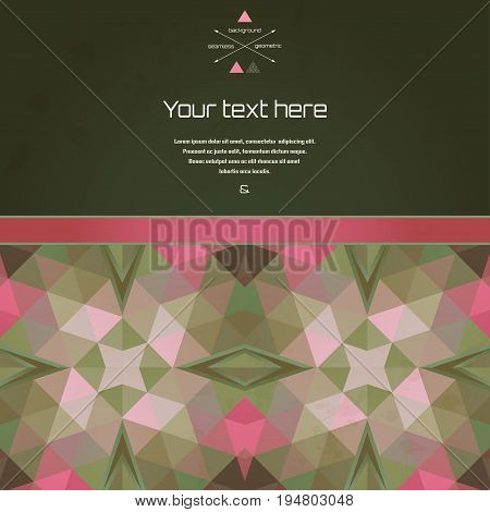 Vector card. Multicolored triangles and stains. Place for your text. Perfect for greetings invitations announcements or cover design.
