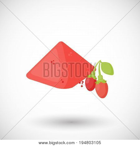 Goji berries powder vector flat icon Flat design of superfood wolfberry or healthy eating object with round shadow isolated on the white background cute vector illustration with reflections
