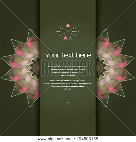 Abstract vector card with round pattern. Multicolored triangles and stains. Place for your text. Perfect for greetings invitations announcements or cover design.