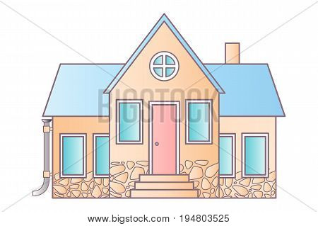 Vector flat icon suburban american houses. For web design and application interface, also useful for infographics