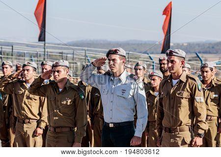 Nahariya Israel June 29 2017 : Soldier of the IDF salute at the evening formation in Nahariya Israel