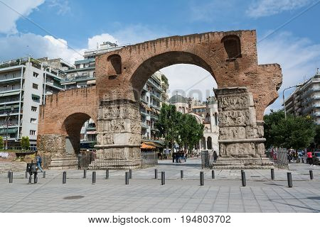 THESSALONIKI, GREECE - MAY 25, 2017: The Arch of Galerius, better known as the Kamara, Thessaloniki, Greece. It was built to honor the Roman Emperor Galerius.