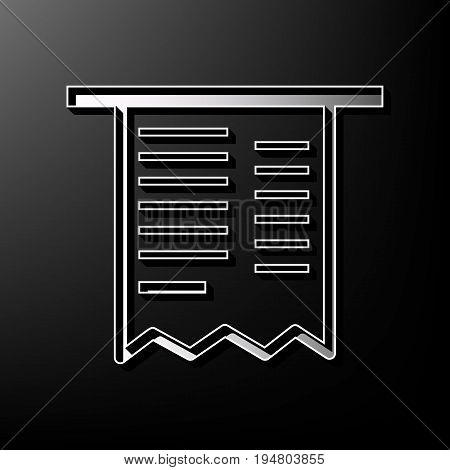 Paying bills concept. Payment of utility, bank, restaurant and other bills sign illustration. Vector. Gray 3d printed icon on black background.