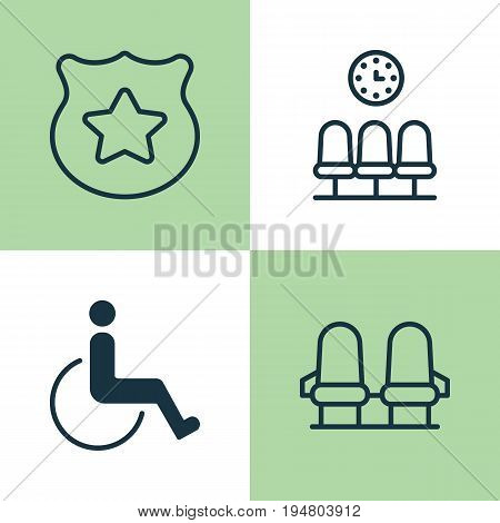 Traveling Icons Set. Collection Of Seats, Cop Symbol, Armchair And Other Elements. Also Includes Symbols Such As Chairs, Accessibility, Police.