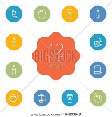 Set Of 12 Beverages Outline Icons Set.Collection Of Cappuccino, Fizzy Water, Beer And Other Elements.