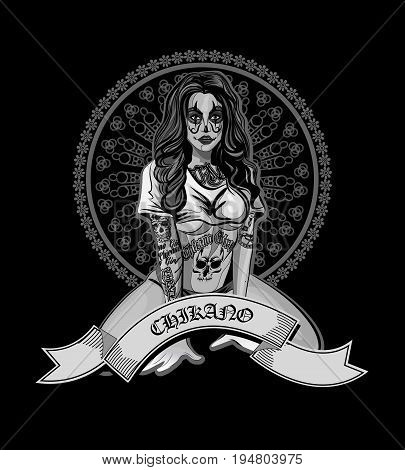 Vector illustration of a beautiful woman.Chicano style