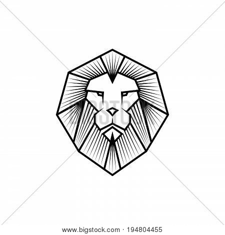 Lion head logo or icon in black color. Stock vector illustration.