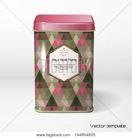 Vector object. Square tin packaging. Tea coffee dry products. Pattern of colored triangles frame for your text.