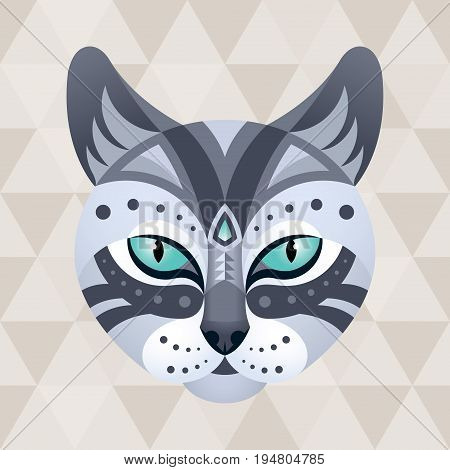 Cat. Chinese horoscope sign. Vector illustration in ethnic style.