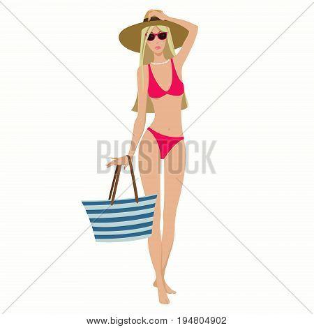 Beautiful slender girl in pink bikini and hat