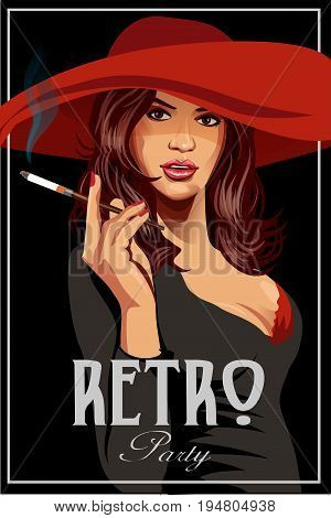The vector invitation on fashionable a retro party. Woman in a red hat