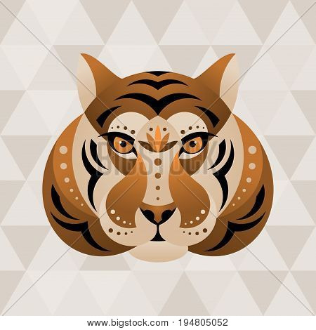 Tiger. Chinese horoscope sign. Vector illustration in ethnic style.