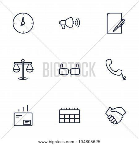 Set Of 9 Management Outline Icons Set.Collection Of Calendar, Handset, Scales Elements.