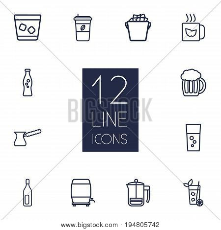 Set Of 12 Drinks Outline Icons Set.Collection Of Cappuccino, Whiskey, Beer And Other Elements.
