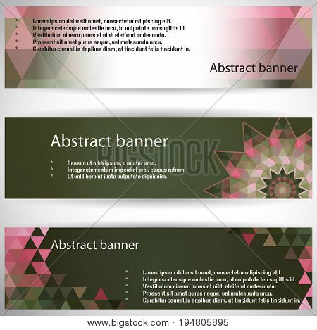 Set of three horizontal banners. Multicolored triangles. Complied with the standard sizes.