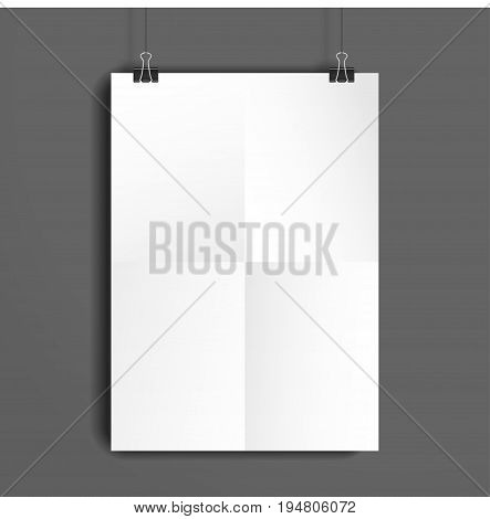 Vector template. White sheet of paper folded in four. The paper hangs on the clamps.