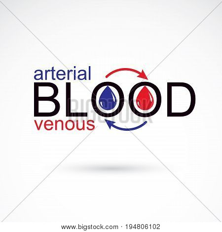 Arterial and venous blood conceptual illustration blood circulation metaphor medical theme vector graphic symbol.