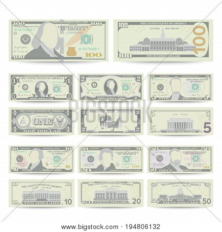 Dollars Banknote Set Vector. Cartoon US Currency. Two Sides Of American Money Bill Isolated Illustration. Cash Dollar Symbol. Every Denomination Of US Currency