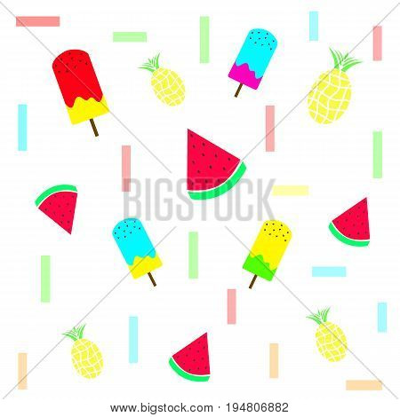 seamless tileable summer texture with ice cream pineapple and watermelon fruits