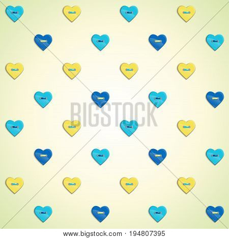 Seamless vector background. Buttons in form of hearts.