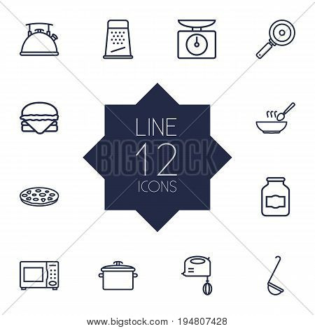 Set Of 12 Culinary Outline Icons Set.Collection Of Skillet, Pan, Ladle And Other Elements.
