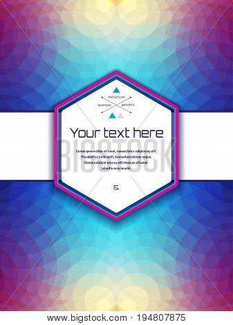 Abstract vector card with sample text. Multicolored polygons. Perfect for invitations announcement or greetings.