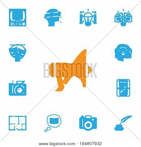 Set Of 13 Constructive Icons Set.Collection Of Gadget, Photo, Concept And Other Elements.