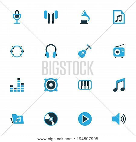 Audio Colorful Icons Set. Collection Of Note, Play, Piano And Other Elements. Also Includes Symbols Such As Mike, Gramophone, Playlist.