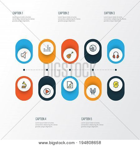 Multimedia Colorful Outline Icons Set. Collection Of List, Earphones, Headphones And Other Elements. Also Includes Symbols Such As Circle, Mixer, Soundtrack.
