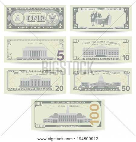Dollars Banknote Set Vector. Cartoon US Currency. Flip Side Of American Money Bill Isolated Illustration. Cash Dollar Symbol. Every Denomination Of US Currency