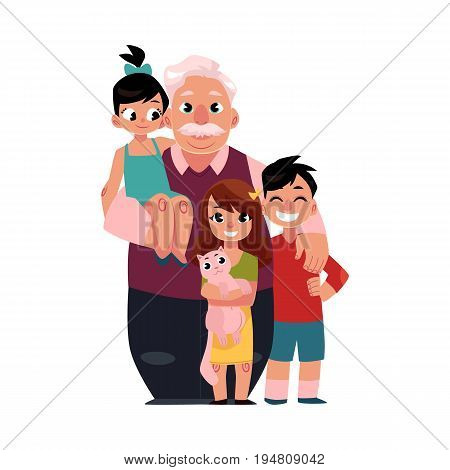 Family portrait, grandfather, grandpa standing with grandchildren, happy and smiling, cartoon vector illustration on white background. Grandfather, grandpa with grandchildren, happy family concept