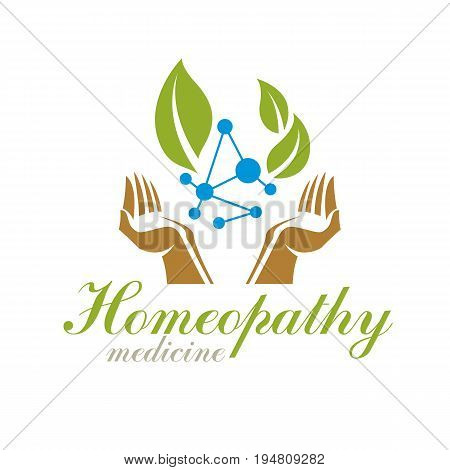 Green leaves composed with molecule model symbol. Living in harmony with nature concept green health idea logo. The impact of homeopathy on pharmacology and scientific research.