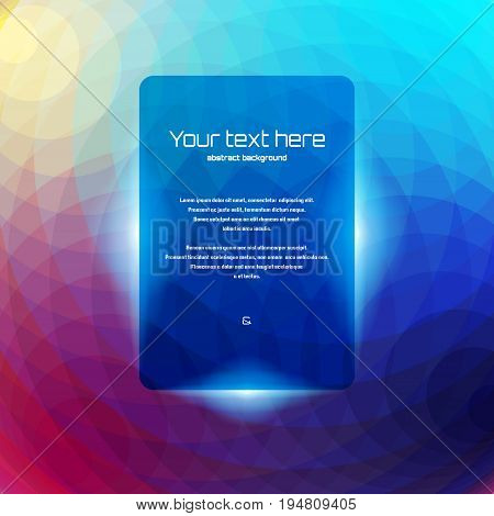 Abstract vector background. Multicolored polygons. Round frame for your text.