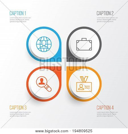 Corporate Icons Set. Collection Of Global Work, Open Vacancy, Authentication And Other Elements. Also Includes Symbols Such As Portfolio, Global, Find.