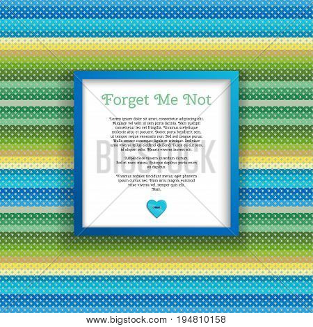 Abstract vector square frame. Pattern imitates embroidery cross stitch. Button heart. Perfect for greetings invitations or announcements
