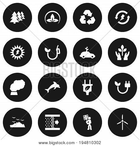Set Of 16 Atmosphere Icons Set.Collection Of Leaf, Reforestation, Cleaning And Other Elements.