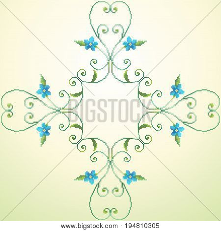 Element seamless vector pattern. Imitation of hand embroidery cross stitch. Forget-me-not.