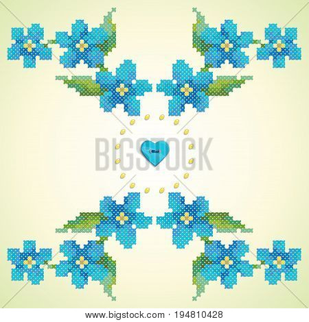 Element seamless vector pattern. Imitation of hand embroidery cross stitch. Forget-me-not button heart and beads.