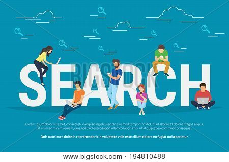 Online searching concept vector illustration of young people using mobile smarthone and laptop for searching info in web browser. Flat design of guys and young women on letters with magnifier symbols