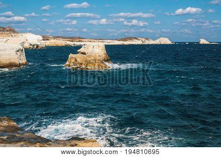 Mineral formations on the coast of Milos island (Moon landscape) Aegean sea, Greece.