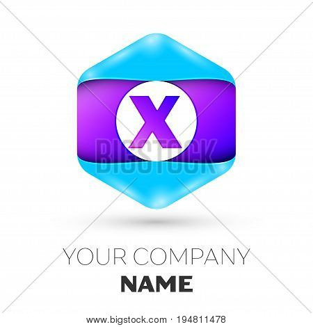 Realistic Letter X vector logo symbol in the colorful hexagonal on white background. Vector template for your design