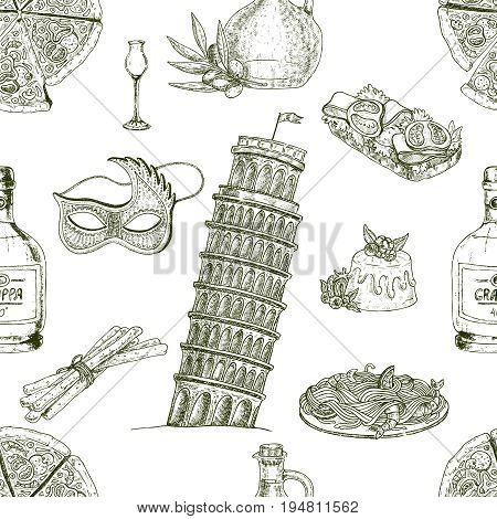 Isolated monochrome italy decorative elements in a seamless pattern with symbols of italian food drinks architecture vector illustration