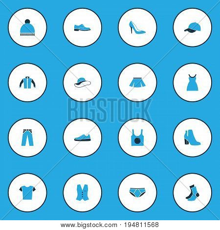 Clothes Colorful Icons Set. Collection Of Man Footwear, T-Shirt, Trousers And Other Elements. Also Includes Symbols Such As Outfit, Singlet, Sneakers.
