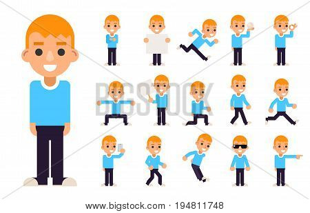 Boy Different Poses and Actions Teen Characters Icons Set Isolated Flat Design Vector Illustration