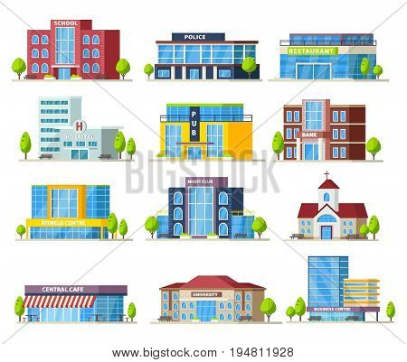 Colorful municipal buildings collection of modern construction and architecture isolated vector illustration